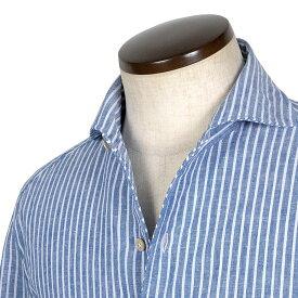 ルイジボレッリ ルイジボレリ LUIGI BORRELLI / 20SS!製品洗いリネンコットンポプリンストライプイタリアンカラーシャツ「VESUVIO(9031)」(ネイビー×ホワイト)/ あす楽非対応 イタリア ワンピースカラー カジュアルシャツ メンズ 麻