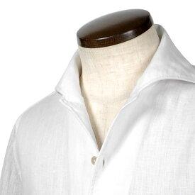 ルイジボレッリ ルイジボレリ LUIGI BORRELLI / 20SS!製品洗いリネンポプリン無地イタリアンカラーシャツ「VESUVIO(9129)」(ホワイト)/ あす楽非対応 イタリア ワンピースカラー カジュアルシャツ メンズ 麻 無地