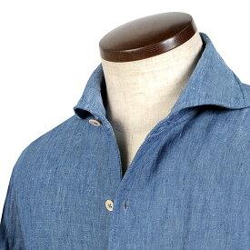 ルイジボレッリ ルイジボレリ LUIGI BORRELLI / 20SS!製品洗いリネンポプリン無地イタリアンカラーシャツ「VESUVIO(9129)」(インディゴブルー)/ あす楽非対応 イタリア ワンピースカラー カジュアルシャツ メンズ 麻 無地