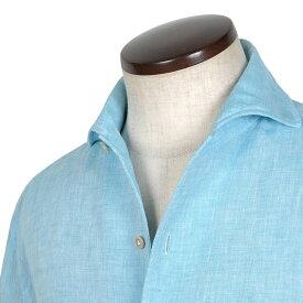 【先行仕掛中】 ルイジボレッリ ルイジボレリ LUIGI BORRELLI / 製品洗いリネンポプリン無地イタリアンカラーシャツ「VESUVIO(9130)」(ターコイズ)/ あす楽非対応 イタリア ワンピースカラー カジュアルシャツ メンズ 麻 無地