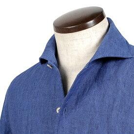 ルイジボレッリ ルイジボレリ LUIGI BORRELLI / 20SS!製品洗いリネンポプリン無地イタリアンカラーシャツ「VESUVIO(9130)」(ロイヤルブルー)/ あす楽非対応 イタリア ワンピースカラー カジュアルシャツ メンズ 麻 無地