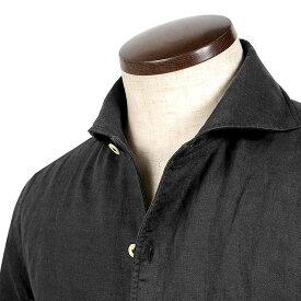 ルイジボレッリ ルイジボレリ LUIGI BORRELLI / 20SS!製品洗いリネンポプリン無地イタリアンカラーシャツ「VESUVIO(9130)」(ブラック)/ あす楽非対応 イタリア ワンピースカラー カジュアルシャツ メンズ 麻 無地
