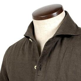 ルイジボレッリ ルイジボレリ LUIGI BORRELLI / 20SS!製品洗いリネンポプリン無地イタリアンカラーシャツ「VESUVIO(9131)」(ダークブラウン)/ あす楽非対応 イタリア ワンピースカラー カジュアルシャツ メンズ 麻 無地