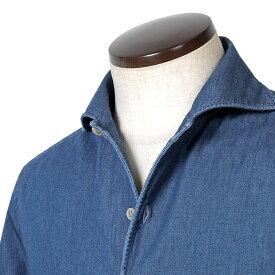 ルイジボレッリ ルイジボレリ LUIGI BORRELLI / 20SS!製品洗いコットンダンガリー無地イタリアンカラーシャツ「VESUVIO(9368)」(インディゴブルー)/ あす楽非対応 イタリア ワンピースカラー カジュアルシャツ メンズ デニム