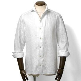 ルイジボレッリ ルイジボレリ LUIGI BORRELLI / 20SS!製品洗いリネンポプリン無地イタリアンカラーシャツ「VESUVIO-EX(9129)」(ホワイト)/ あす楽非対応 イタリア ワンピースカラー カジュアルシャツ メンズ 麻 無地 リゾート