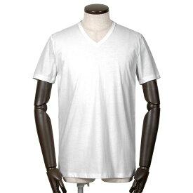 【FINAL SALE/返品・交換不可】マジェスティック フィラチュール MAJESTIC FILATURES / 20SS!シルクタッチコットン天竺半袖Vネックカットソー「M537-HTS024」(BLANC/ホワイト)/ メンズ フランス Tシャツ ティーシャツ ショートスリーブ ジャージー