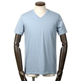 【FINAL SALE/返品・交換不可】マジェスティック フィラチュール MAJESTIC FILATURES / 20SS!シルクタッチコットン天竺半袖Vネックカットソー「M537-HTS024」(PASTEL BLEU/パステルブルー)/ メンズ フランス Tシャツ ティーシャツ ジャージー