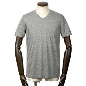 【SALE】マジェスティック フィラチュール MAJESTIC FILATURES / リネンシルク天竺半袖Vネックカットソー「M510-HTS024」(GRIS CHINE CLAIR/杢グレー)/ メンズ フランス Tシャツ ティーシャツ ショートスリーブ 麻 絹