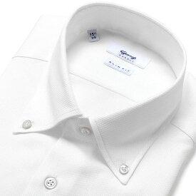 ジャンジ GIANGI / 21SS!コットンハニカムメッシュボタンダウンカラーシャツ「CASERTA」(ホワイト)/ 春夏 メンズ イタリア ドレスシャツ ビジネスシャツ ボタンダウンシャツ 無地