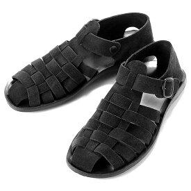 【SALE】ゼウス ZEUS / 当店別注キップスエードグルカサンダル「1902」(NERO/ブラック)/ メンズ イタリア レザーサンダル 革サンダル シューズ 靴 マウロデバーリ