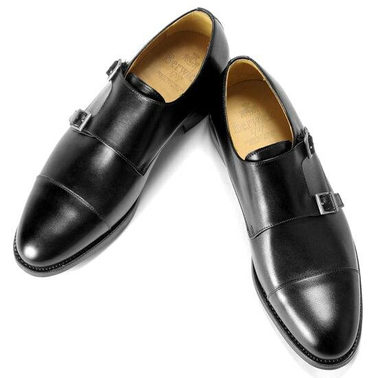 バーウィック Berwick1707 ボックスカーフダブルモンクストラップシューズ『3637』(NEGRO ブラック)靴 シューズ ダブルモンク 黒   ダブルモンクストラップ ストレートチップ 本革 革靴 ビジネス カジュアル レザーシューズ ローファー メンズ ブランド