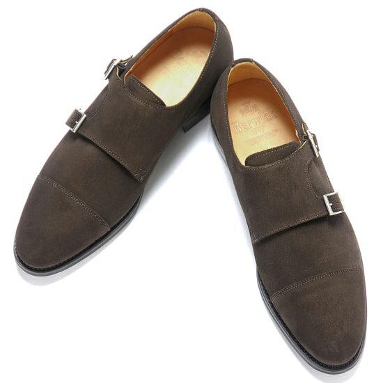 バーウィック Berwick1707 / スエードダブルモンクストラップシューズ『3637』(173/ ダークブラウン )/ 靴 シューズ ダブルモンク 茶 ダブルモンクストラップ ストレートチップ 本革 革靴 ビジネス カジュアル レザーシューズ ローファー メンズ ブランド