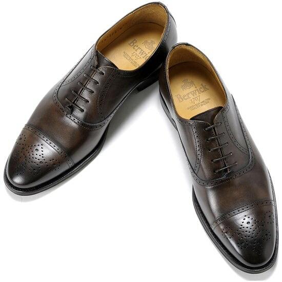 バーウィック Berwick1707 /17-18AW新入荷!アニリンカーフセミブローグシューズ『4507』(TESTA/ダークブラウン)バーウィック 靴 シューズ セミブローグ 黒 メンズ ブランド