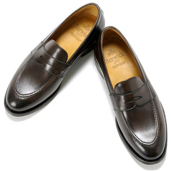 バーウィック Berwick1707 /17-18AW新入荷!アニリンカーフコインローファー『4172』(TESTA/ダークブラウン)バーウィック 靴 シューズ コイン ローファー 茶 メンズ ブランド