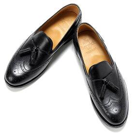 バーウィック Berwick1707 / アルパインカーフウィングチップタッセルローファー「4675」(BLACK/ブラック)/ 靴 シューズ タッセル ローファー ビジネス カジュアル レザー レザーシューズ スリッポン ウイングチップ ダイナイト