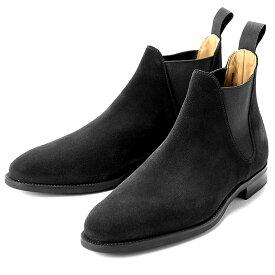 【ポイント10倍】 クロケット&ジョーンズ CROCKETT&JONES / 【国内正規品】 / 当店別注レペロスエードサイドゴアブーツ「CHELSEA 8」(BLACK/ブラック)/ チェルシー 英国 靴 革 レザー ビジネス シューズ グッドイヤー ダイナイトソール