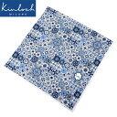 キンロック Kinloch / コットンポプリンプリントハンカチーフ「ZELLIGE」(ホワイト×ネイビー×ブルー)【ネコポス…