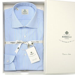 LUIGIBORRELLI(ルイジボレッリ/ルイジボレリ)コットンポプリンストライプセミワイドカラーシャツ『LUCIANO(10004)』(サックスブルー×ホワイト)