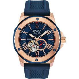 ブローバ BULOVA マリンスター 自動巻き AUTOMATIC 45ミリ オープンハート ステンレススケース(RG IP) シリコンラバーバンド 200M防水 日本国内正規品 メンズ腕時計 3年保証 98A227