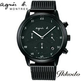 アニエスベー agnes b マルチェロローマン ステンレスケース&ブレス(硬質コーティング)ソーラー クロノグラフ ブラックダイヤル 41,5mm 日本国内正規品 1年保証 メンズ腕時計 FBRD939