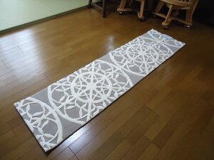 おしゃれな幾何学模様のマット『TOM4052』(50x200cm)(グレー)