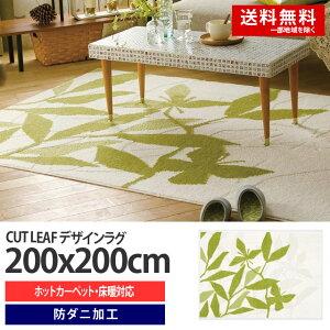 【送料無料】スミノエラグCUTLEAF(カットリーフ)サイズ:200x200cm(グリーン)ラグマット/カーペット