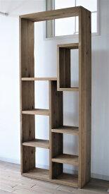 Random wood shelf 1635*685*235 (棚 ラック シェルフ 鉄 木 収納棚 アンティーク ウォールシェルフ オープンラック 両面棚 商品棚 店舗什器 デイスプレイ)