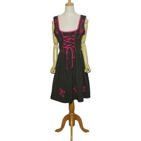 【中古】GAUDI Trachten 焦げ茶系 ディアンドル チロル ワンピース レディース Lサイズ位 ヨーロッパ カジュアル 民族衣装 古着