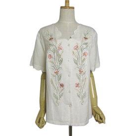【中古】花の刺繍 ブラウス 薄ベージュ系 レディース XLサイズ位 ヨーロッパ 古着 【異国屋】