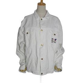 【中古】ユーロ ミッキーマウス 刺繍 ジャケット Donaldson ツイル デニム 白 古着