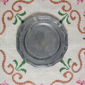【中古】アンティーク Crown Castle USA ピューター 花リム ディナープレート 皿 食器 ヴィンテージ 【異国屋】