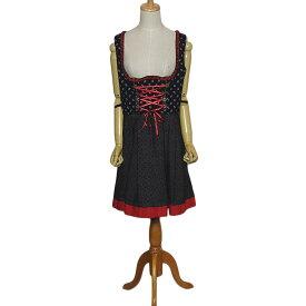 【中古】 marjo チロル ワンピース レディースXL位 ヨーロッパ 民族衣装 ディアンドル 上小花柄 下ドット柄 古着 【異国屋】