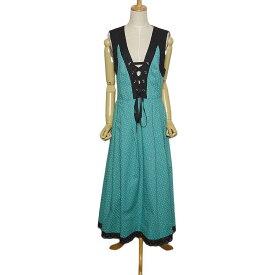 【中古】小花柄 ディアンドル チロル ワンピース レディース Lサイズ位 ヨーロッパ 民族衣装 古着