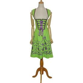 【中古】Almenrausch 刺繍入り チロルワンピース ディアンドル レディース サイズS位 黄緑色系 ヨーロッパ 民族衣装 古着 【異国屋】