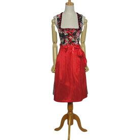 【中古】Janina エプロン付き ディアンドル チロル ワンピース ドレス レディース XSサイズ位 ヨーロッパ古着 民族衣装 上は花柄 下はチェック柄