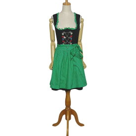【中古】エプロン付き ディアンドル チロル ワンピース ドレス レディース Sサイズ位 黒 ヨーロッパ古着 民族衣装 コットン