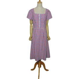 【中古】チェック柄 半袖 チロル ワンピース レディース Lサイズ位 ヨーロッパ 古着 民族衣装ディアンドル