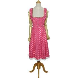 【中古】Waldschutz ディアンドル チロル ワンピース ピンク色 小花柄 裾にレース レディース Mサイズ位 ヨーロッパ 古着 民族衣装