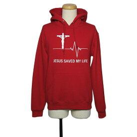 【新品】JERZEES プリント スウェット パーカー プルオーバー メンズ Sサイズ 赤 裏起毛 長袖 トレーナー トップス キリスト 十字架