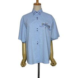【中古】AL'SON PARIS アヒルの刺繍 シャツ 半袖 レディース XLサイズ位 青 フランス 古着 ブラウス