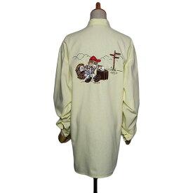 【中古】ELITAIR 動物キャラクター 刺繍入り シャツ 長袖 レディース XLサイズ位 古着 薄イエロー系