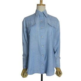 【中古】アメリカ製 70's ヴィンテージ ウエスタンシャツ DEE CEE 青系 レディース Sサイズ位 古着 カウボーイシャツ