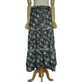 【中古】花柄 ティアード スカート レディース 約w81.0cm ヨーロッパ 古着 フラワー 黒系