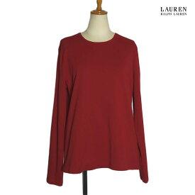 LAUREN Ralph Lauren ラルフローレン レディース ロングスリーブ Tシャツ 赤 Lサイズ 古着【中古】