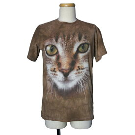 【中古】 タイダイ染め Tシャツ 猫 半袖 メンズS アメリカ古着 アニマルプリント Tシャツ THE MOUNTAIN
