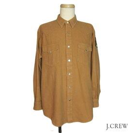 USA製 J.CREW ウエスタンネルシャツ メンズL 【中古】袖ワッペンユーズドスナップボタン