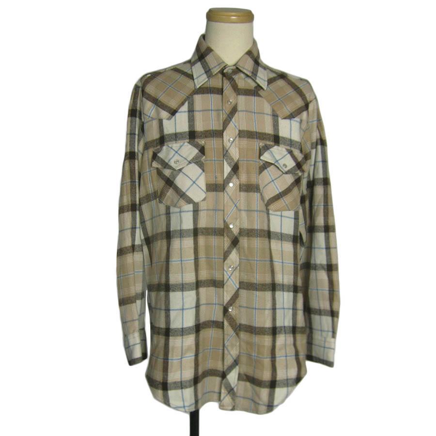 シアーズ Sears アクリル ネル ウエスタン シャツ メンズL 70年代ヴィンテージ古着【中古】