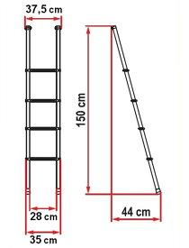 ラダーデラックス 4B 車内用 はしご FIAMMA フィアマ キャンピングカー キャンピングトレーラー 車中泊 パーツ 部品 用品 キャンプ フィアマパーツ キャンカー テント バンクベットへのアクセスに