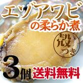 煮あわび北海道産エゾアワビのやわらか煮貝殻つき・肝つき3個セット蝦夷鮑あわび煮貝贈り物内祝いお返しギフトお取り寄せ送料無料