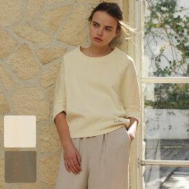 IKUKO/イクコ リブダブルフェイストップス/日本製 レディース コットン100% 春 夏 スウェット トレーナー プルオーバー ドルマンスリーブ 刺繍 ゆったり リラックス かわいい